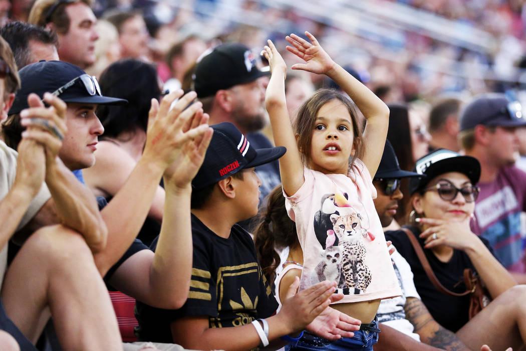 Fans react during the Monster Energy Supercross season final at Sam Boyd Stadium in Las Vegas on Saturday, May 5, 2018. Andrea Cornejo Las Vegas Review-Journal @dreacornejo