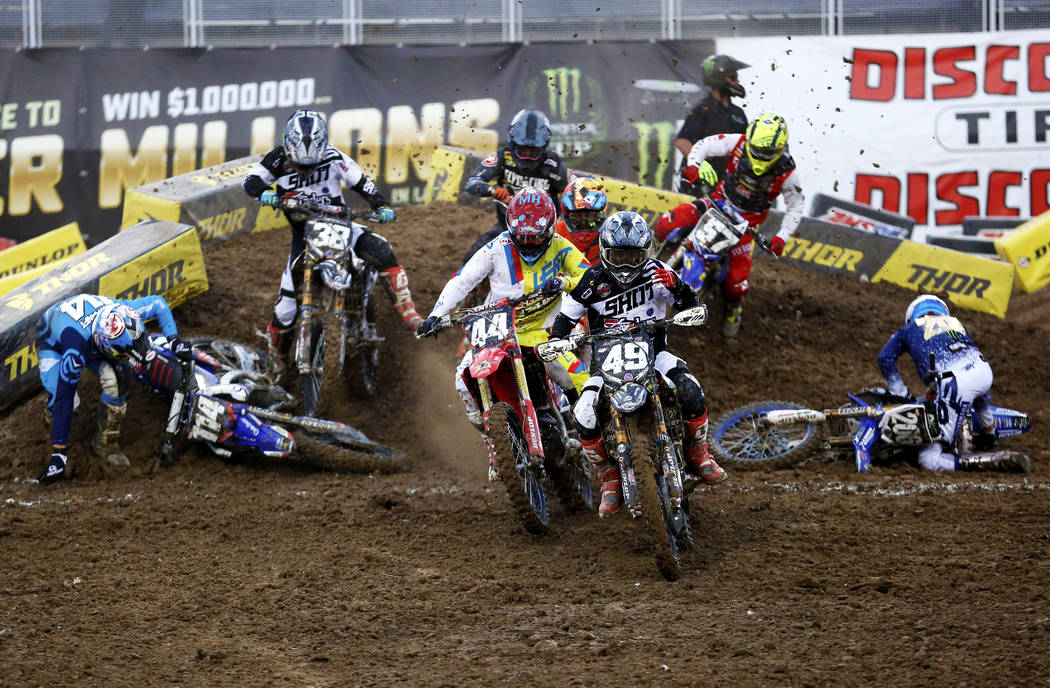 Riders compete in the 250SX East Heat during the Monster Energy Supercross season final at Sam Boyd Stadium in Las Vegas on Saturday, May 5, 2018. Andrea Cornejo Las Vegas Review-Journal @dreacornejo