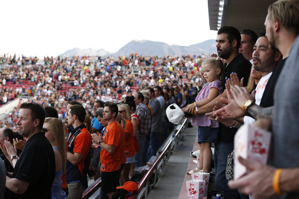 Fans clap for the riders during the Monster Energy Supercross season final at Sam Boyd Stadium in Las Vegas on Saturday, May 5, 2018. Andrea Cornejo Las Vegas Review-Journal @dreacornejo