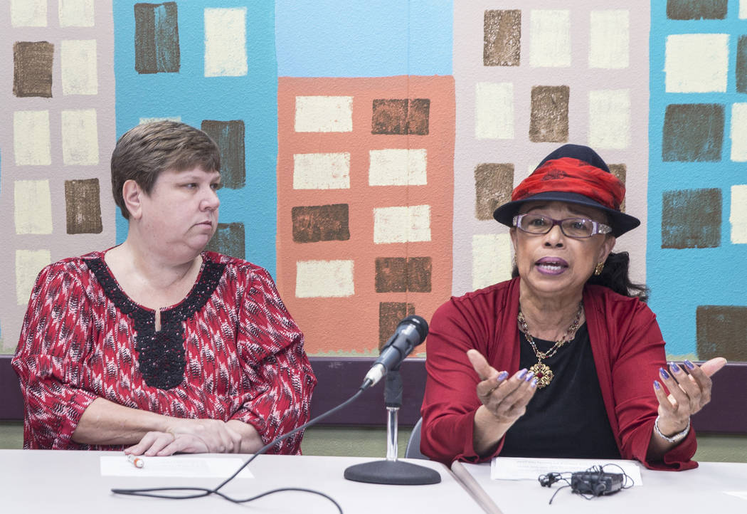 Trustee Dr. Linda E. Young, right, and Deanna L. Wright address the media during a press conference organized by the Clark County School District to call on lawmakers to put revenues from marijuan ...