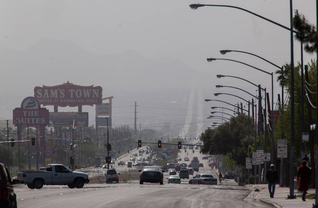 A view of Boulder Highway looking south is seen partially obscured by dust in the background in Las Vegas on Wednesday, April 1, 2015. (Chase Stevens/Las Vegas Review-Journal) Follow Chase Stevens ...
