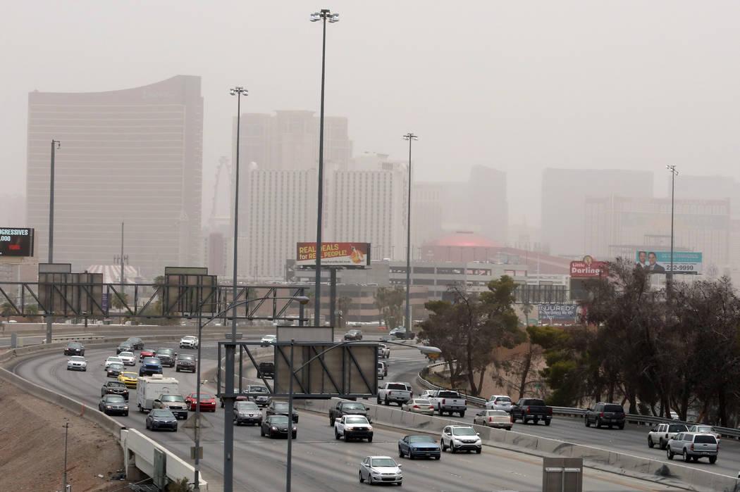 The Las Vegas Strip is seen as dust from Arizona storms blankets the Las Vegas Valley on Saturday, July 30, 2016. Bizuayehu Tesfaye/Las Vegas Review-Journal Follow @bizutesfaye
