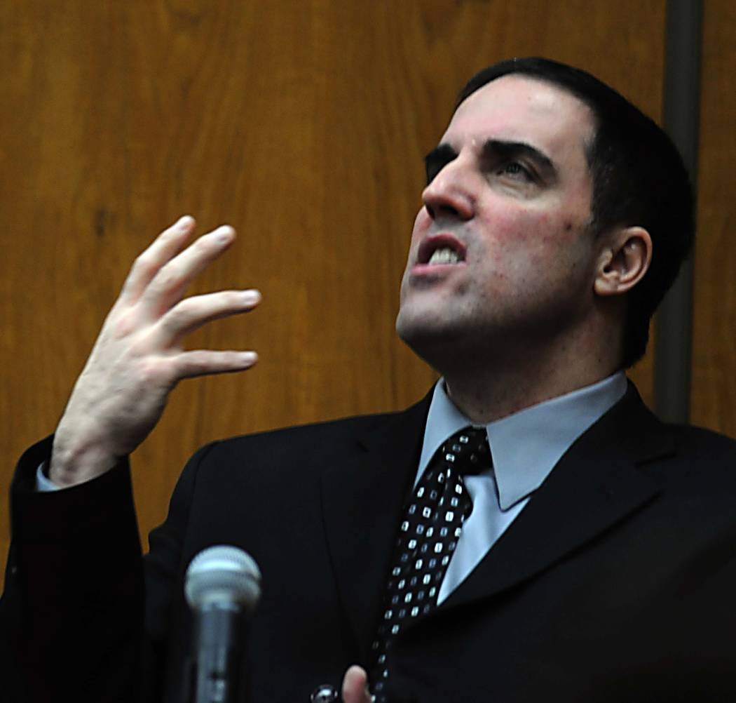 Darren Mack testifies at a hearing in a Reno courtroom on Jan. 17, 2008. Mack was convicted of murdering his wife, Charla, and shooting Washoe Family Court Judge Chuck Weller in June 2006. Mack is ...