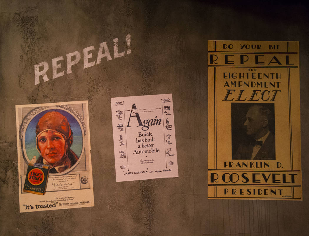 Prohibition-era advertisements on display at The Underground at The Mob Museum in downtown Las Vegas on Saturday, April 14, 2018. The basement-level exhibition of the Prohibition era features a wo ...