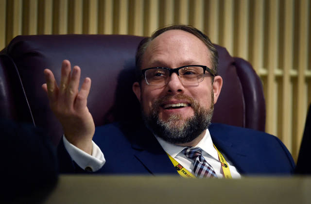 Henderson City Attorney Josh Reid looks on during the Henderson City Council meeting at Henderson City Hall on Tuesday, June 16, 2015. (David Becker/Las Vegas Review-Journal)
