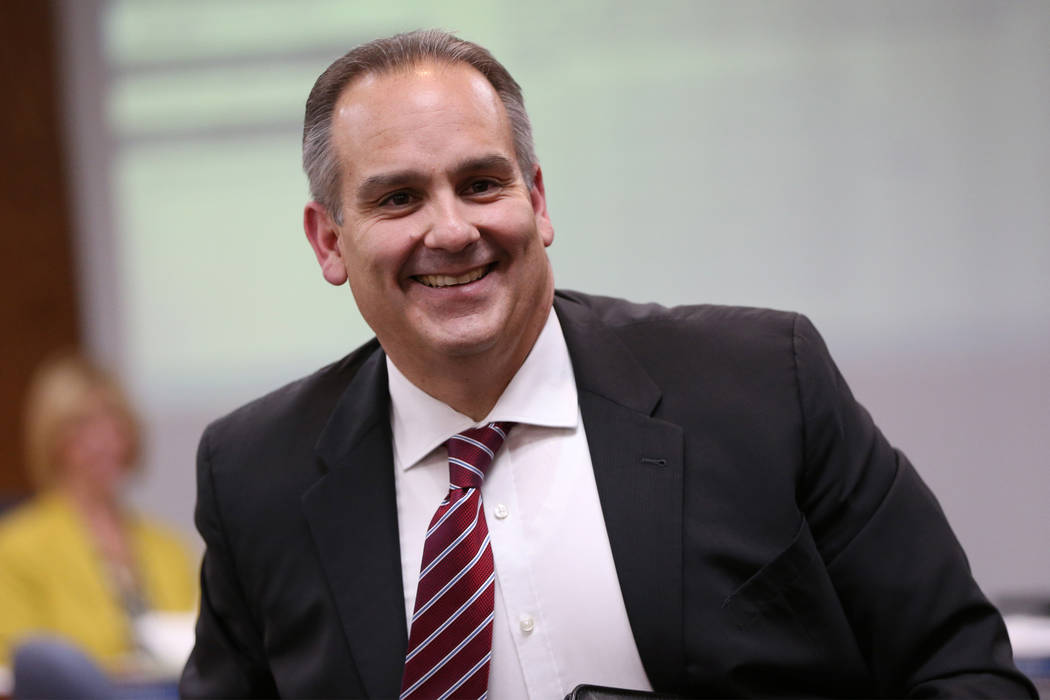 Jesus Jara, superintendent candidate for Clark County School District, during a CCSD Board of Trustees meeting at CCSD's education center in Las Vegas in Las Vegas, Friday, April 27, 2018. Erik Ve ...