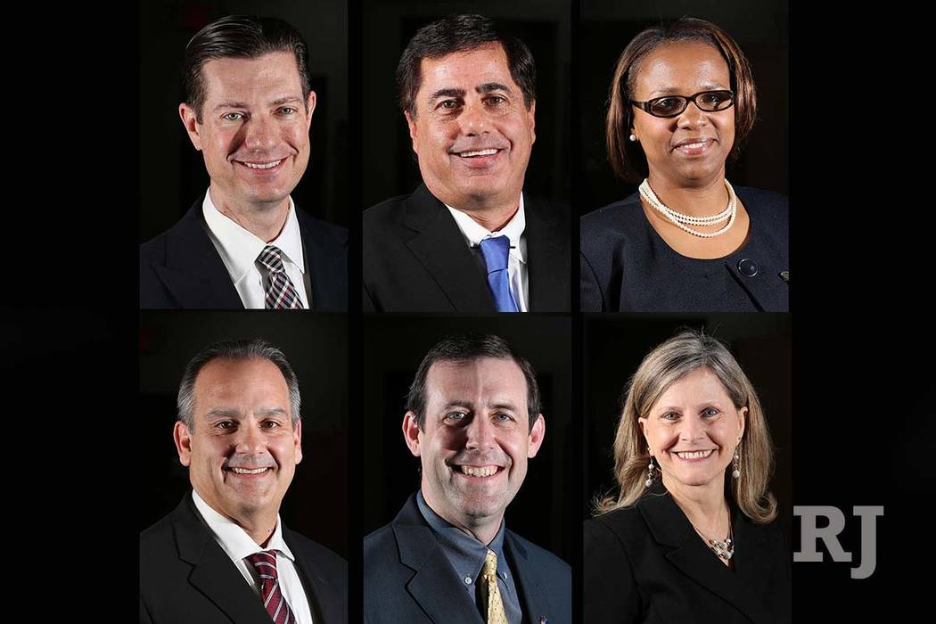 Finalists for the Clark County School District superintendent's job are, top, from left: Mike Barton, Don Haddad, Shonda Huery Hardman, and bottom, from left, Jesus Jara, Jesse Welsh and Ev ...