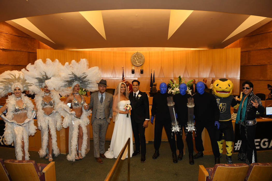 "Las Vegas entertainers (L-R) Las Vegas showgirls, Matt Goss, Ricardo Laguna, Blue Man Group and Elvis impersonator help kick off ""Royal Wedding Month"" In Las Vegas on May 1, 2018 in Las Vegas, Nev ..."