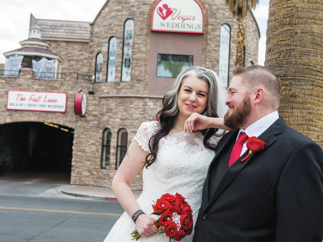 The newly married Chrissy Blunt-Sternthal and Jason Sternthal of Denver outside of Vegas Weddings in Las Vegas on Tuesday, May 1, 2018. Patrick Connolly Las Vegas Review-Journal @PConnPie