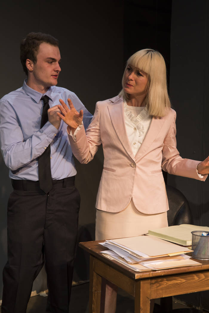 """Office mates Richard (Chase Dowden) and Hildee (Francis Stallings) share """"se-Krits"""" in Las Vegas Little Theatre's 10th annual New Works Competition winner."""