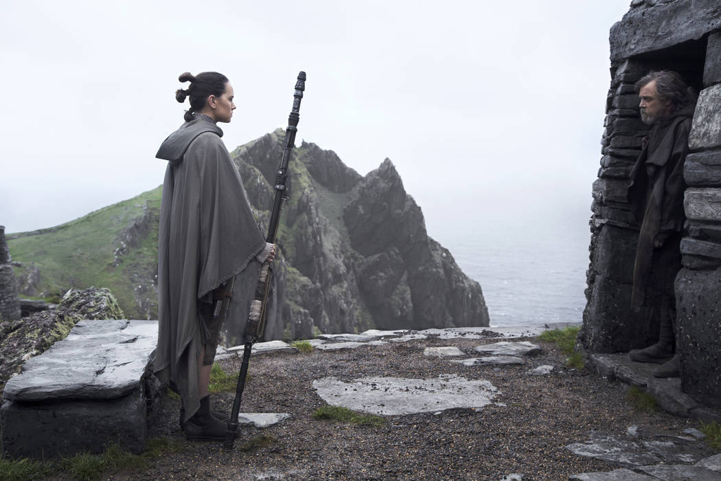 "Rey (Daisy Ridley) and Luke Skywalker (Mark Hamill) in ""Star Wars: The Last Jedi."" ( Jonathan Olley/2017 Lucasfilm Ltd.)"