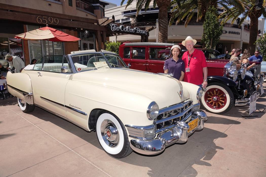 Findlay Cadillac owner Chardonnay Knox and Cadillac and LaSalle Club President D.R. Rawson are seen with her 1949 62 Series Cadillac convertible at the 13th annual Cadillac Through the Year car sh ...