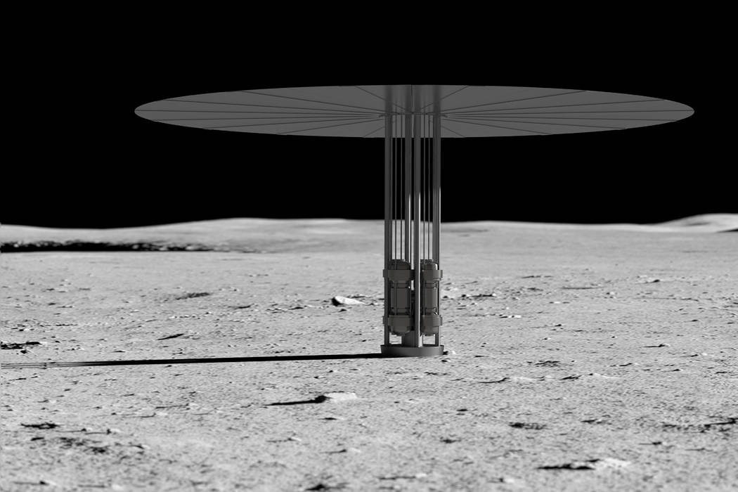 Rendering of Kilopower fission reactor on Moon. (NASA)