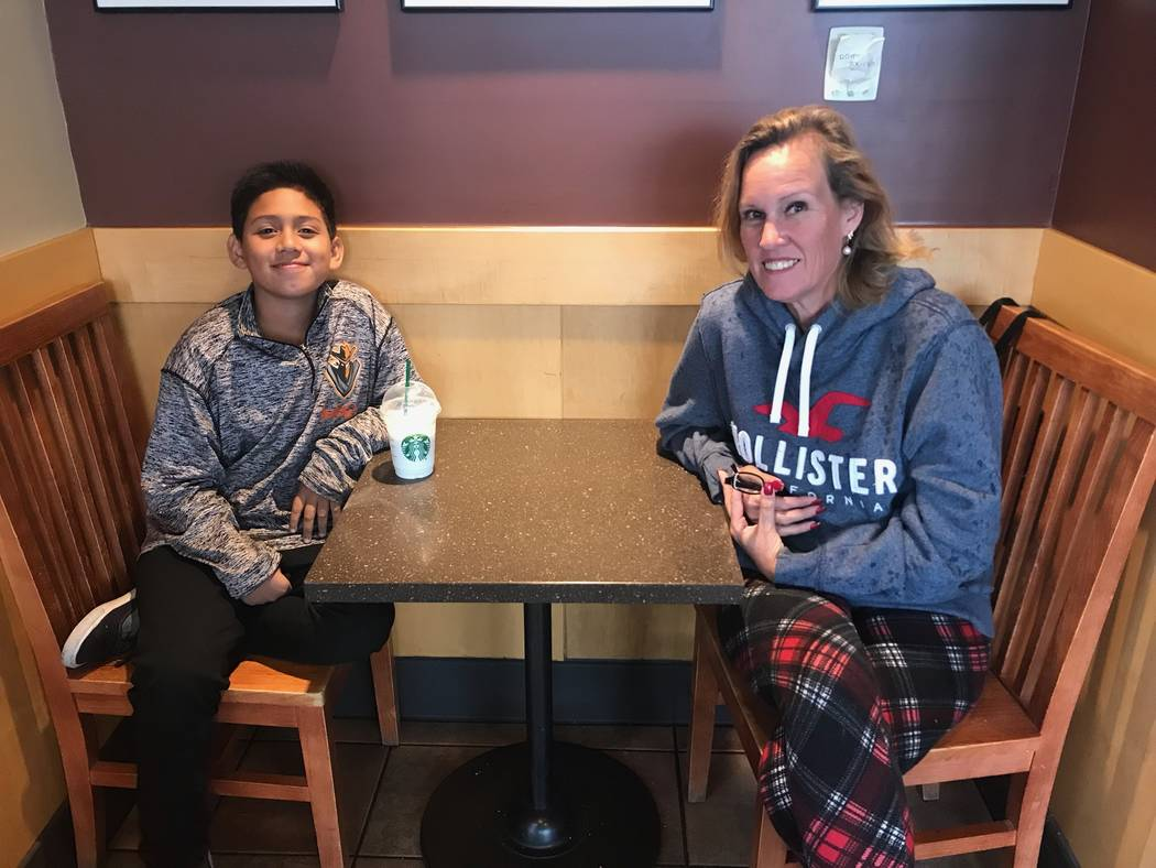 Jayden Zelaya-Ramos, 10, sits with his grandmother and legal guardian on May 1, 2018. Jayden had just finished describing how his fifth grade teacher Jason Wright, the husband of CCSD Board presid ...