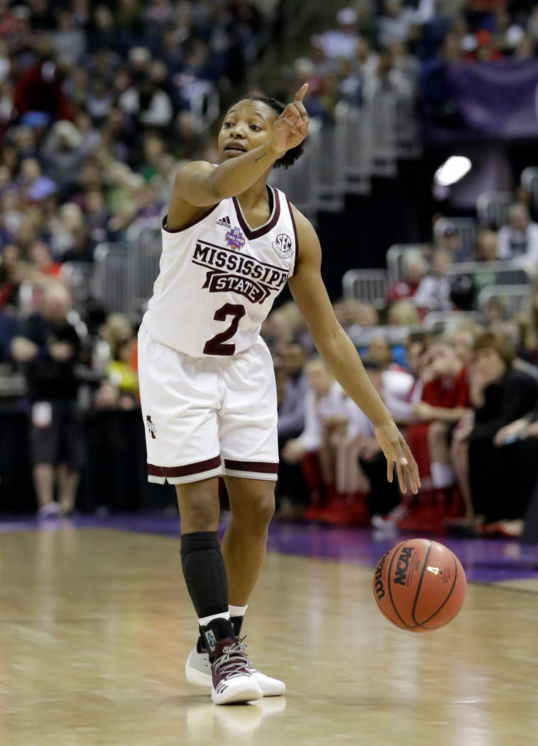Mississippi State's Morgan William points during the second half against Louisville in the semifinals of the women's NCAA Final Four college basketball tournament, Friday, March 30, 2018, in Colum ...