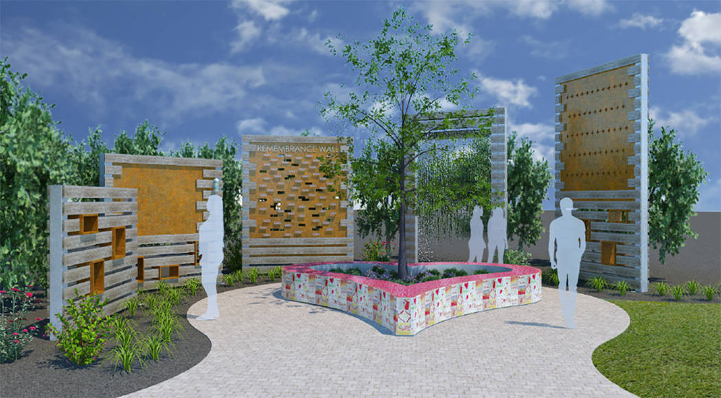 A rendering of a planned wall show to remember victims of the Route 91 Harvest festival shooting show five separate pieces standing at differing heights with backlit text and memorial plaques, arr ...
