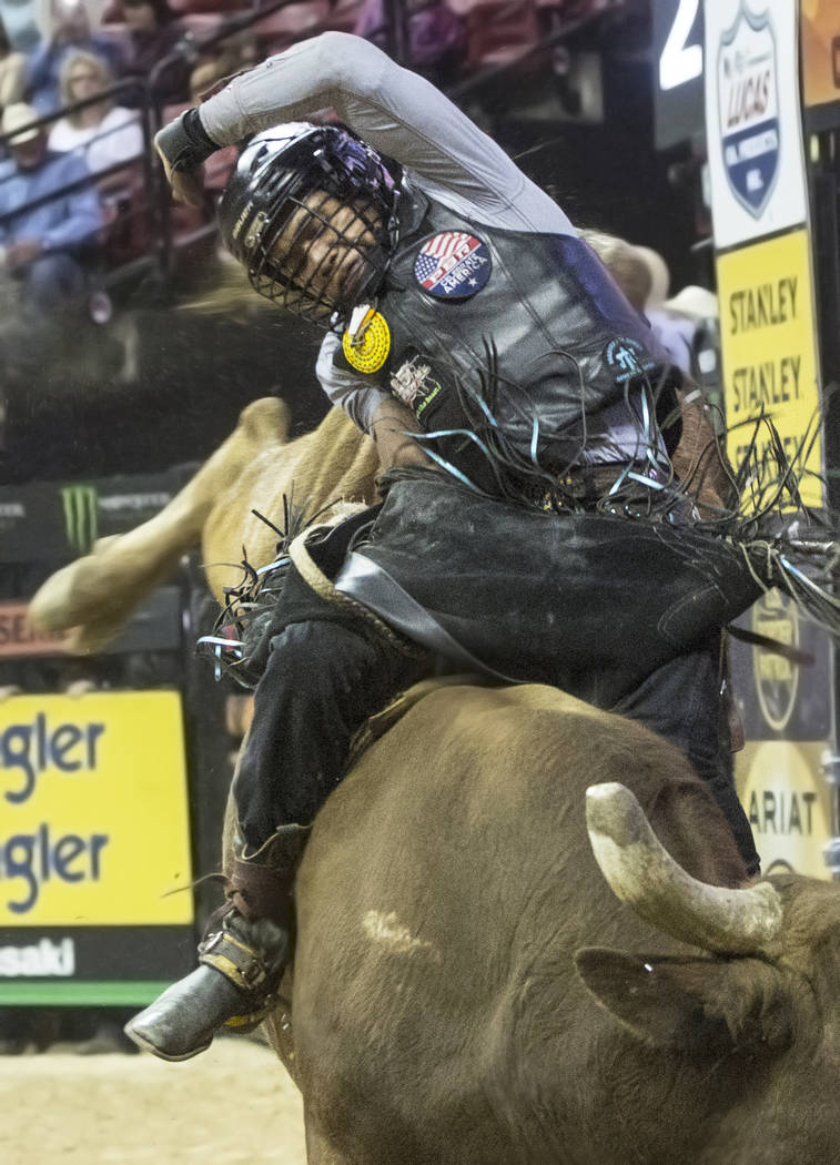 Keyshawn Whitehorse competes in the Professional Bull Rider's Last Cowboy Standing competition on Friday, May 4, 2018, at the Thomas & Mack Center, in Las Vegas. Benjamin Hager Las Vegas Revie ...