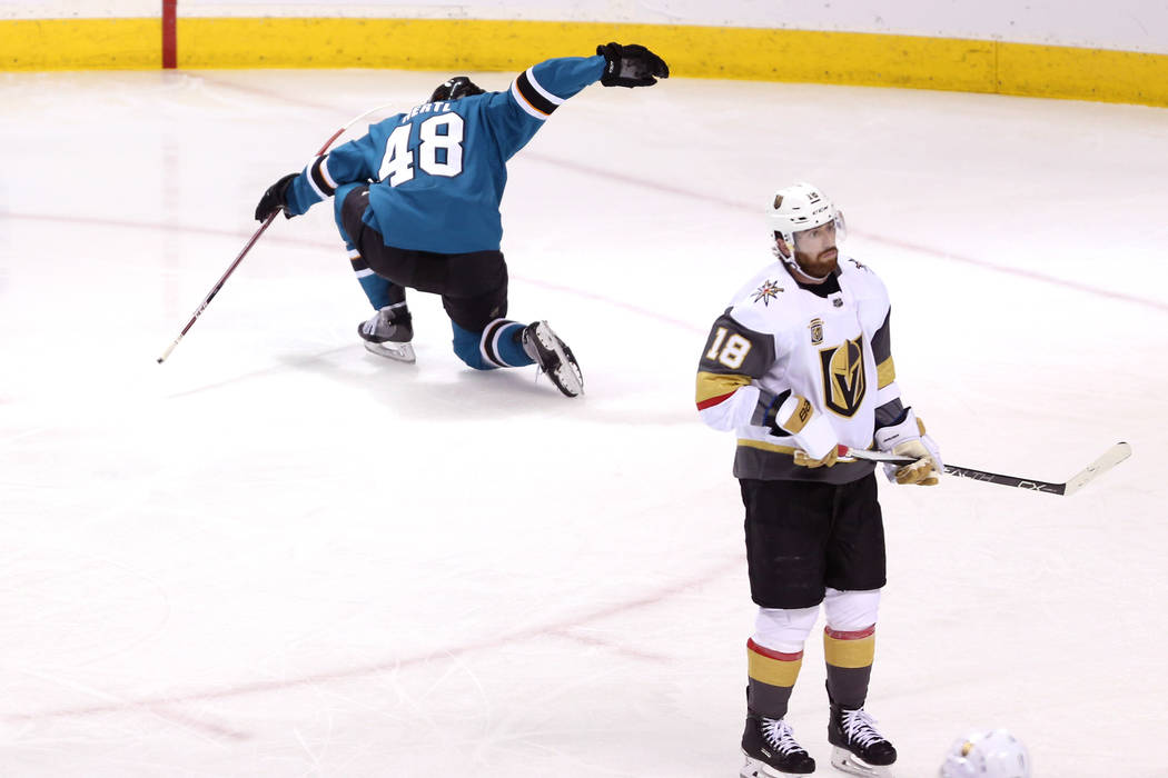 San Jose Sharks center Tomas Hertl (48) celebrates a score against Vegas Golden Knights during the second period in Game 4 of an NHL hockey second-round playoff series at the SAP Center in San Jos ...