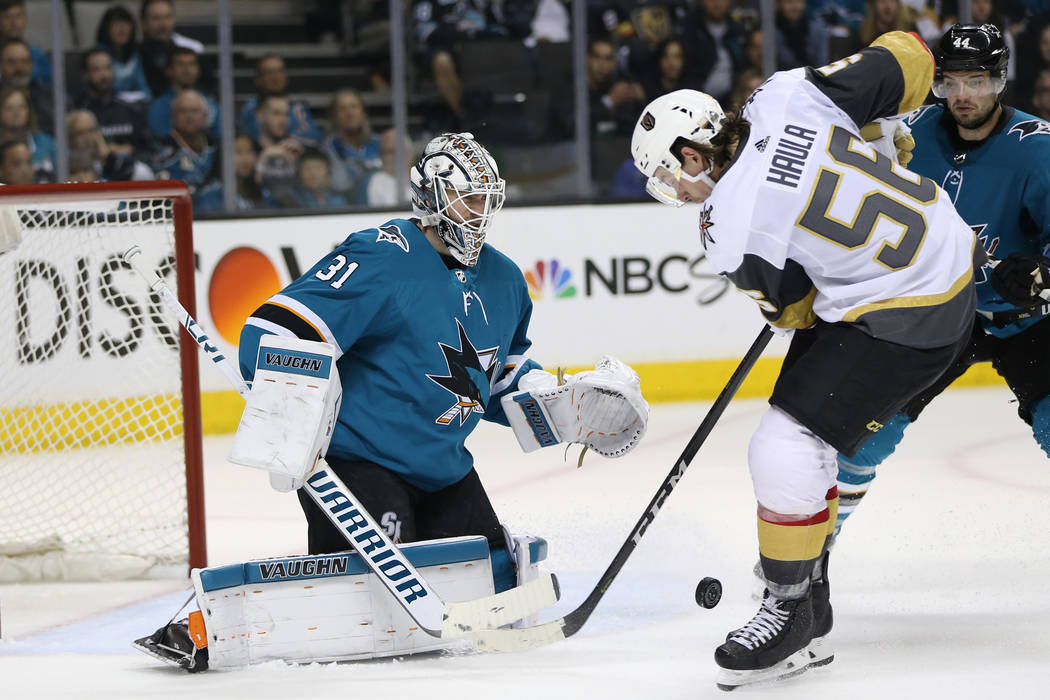 Vegas Golden Knights left wing Erik Haula (56) looks for a shot against San Jose Sharks goaltender Martin Jones (31) during the third period in Game 4 of an NHL hockey second-round playoff series ...