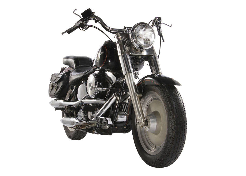"""This image released by Profiles in History shows a 1991 Harley-Davidson Fat Boy motorcycle used in the film, """"Terminator 2: Judgement Day,"""" which is among the items from Hollywood films ..."""