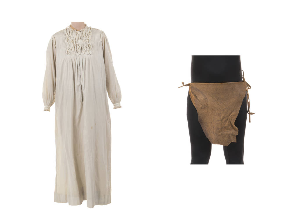 """This combination of photos released by Profiles in History shows a nightgown worn by Olivia de Havilland in """"Gone With the Wind,"""" left, and a loincloth worn by Johnny Weissmuller in the ..."""