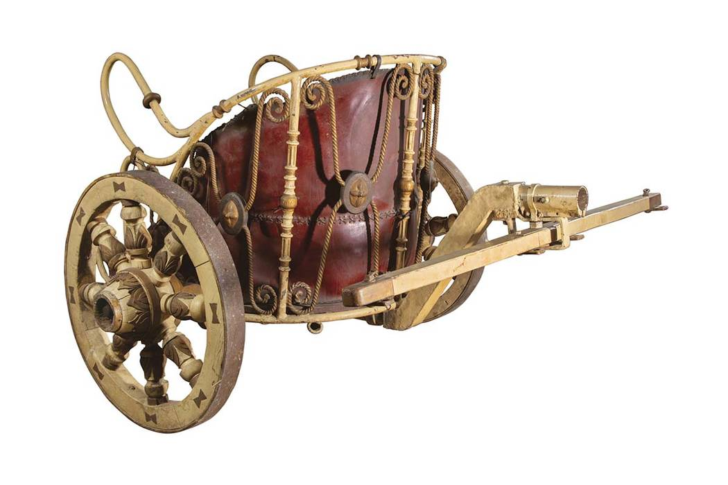 """This image released by Profiles in History shows a practice chariot used by Charlton Heston in the 1959 film, """"Ben-Hur,"""" which is among the items from Hollywood films up for auction. (Profiles in ..."""