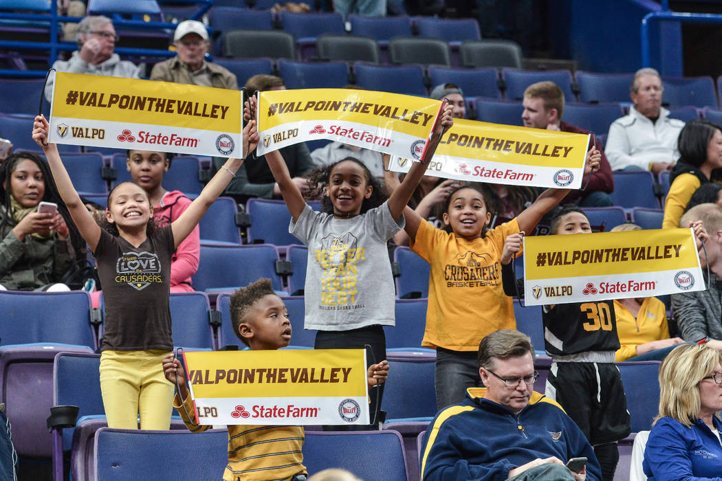February 28, 2018 - St. Louis, Missouri, U.S - Some young Valparaiso fans show their support during the first round of the Arch Madness, Missouri Valley Conference Men's Tournament between Missour ...