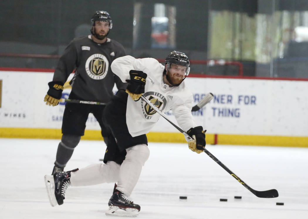 Vegas Golden Knights Oscar Lindberg (24) shoots the puck during during team's optional practice at the City National Arena on Thursday, May 3, 2018, in Las Vegas. Bizuayehu Tesfaye/Las Vegas Revie ...