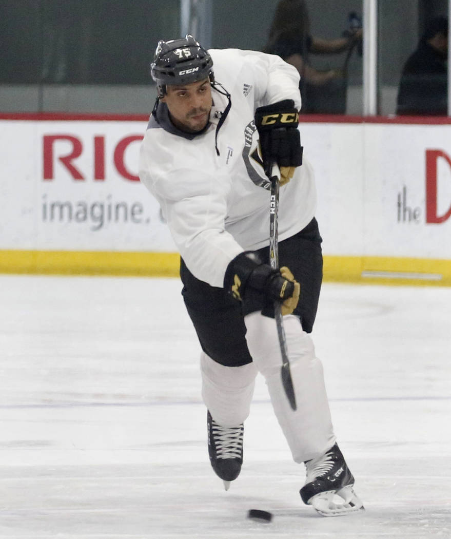 Vegas Golden Knights right wing Ryan Reaves (75) shoots the puck during team's optional practice at the City National Arena on Thursday, May 3, 2018, in Las Vegas. Bizuayehu Tesfaye/Las Vegas Revi ...