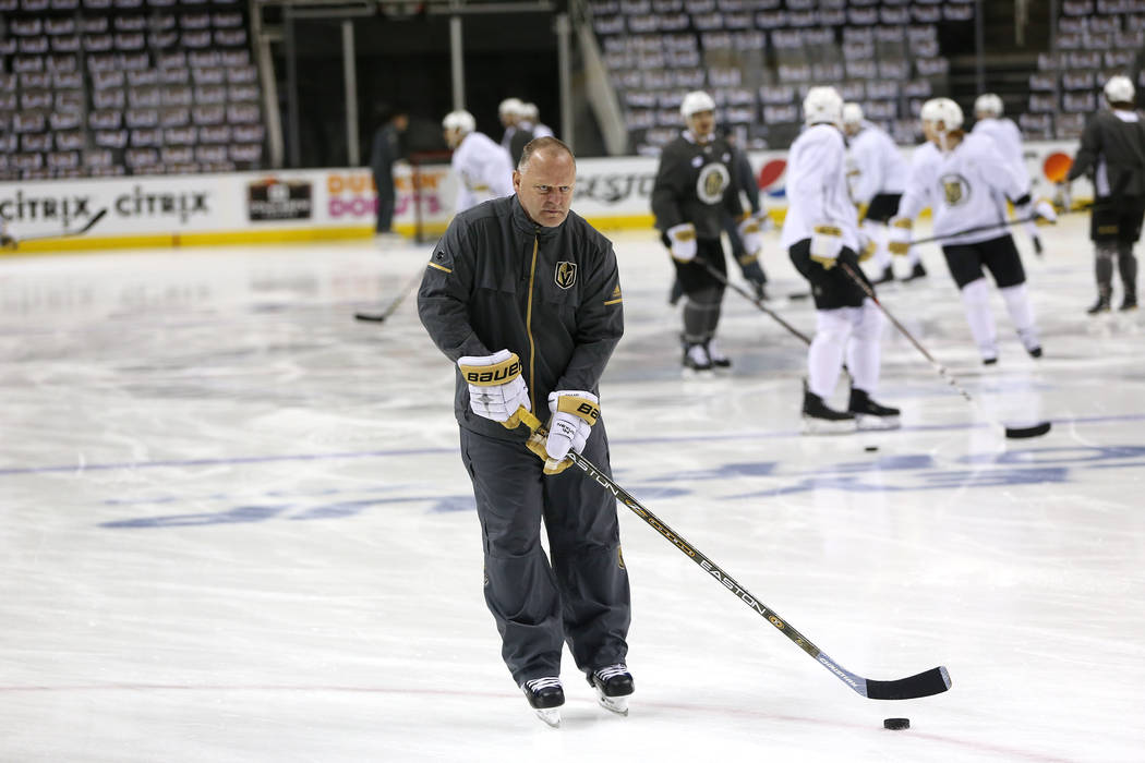 Vegas Golden Knights head coach Gerard Gallant on the ice during practice before Game 3 of an NHL hockey second-round playoff series against the San Jose Sharks at the SAP Center in San Jose, Cali ...