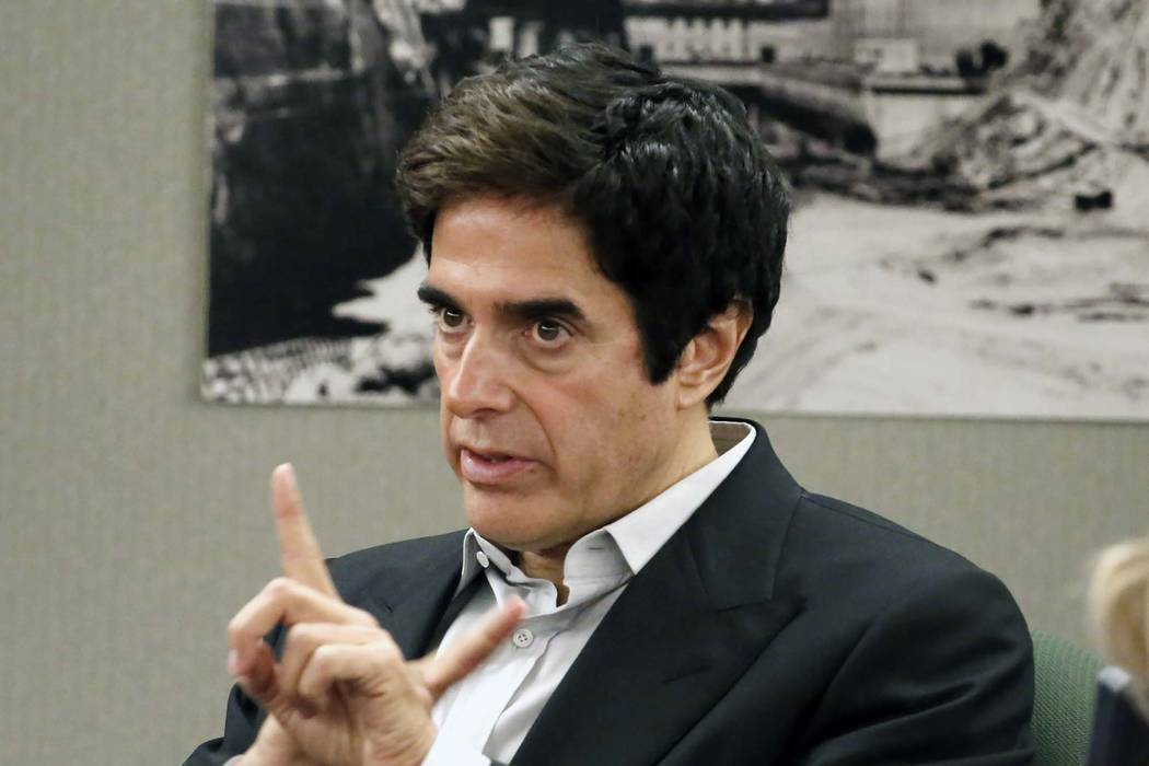 Magician David Copperfield gestures as he takes the stand during his civil trial at the Regional Justice Center on Tuesday, April 24, 2018, in Las Vegas. Bizuayehu Tesfaye/Las Vegas Review-Journal ...