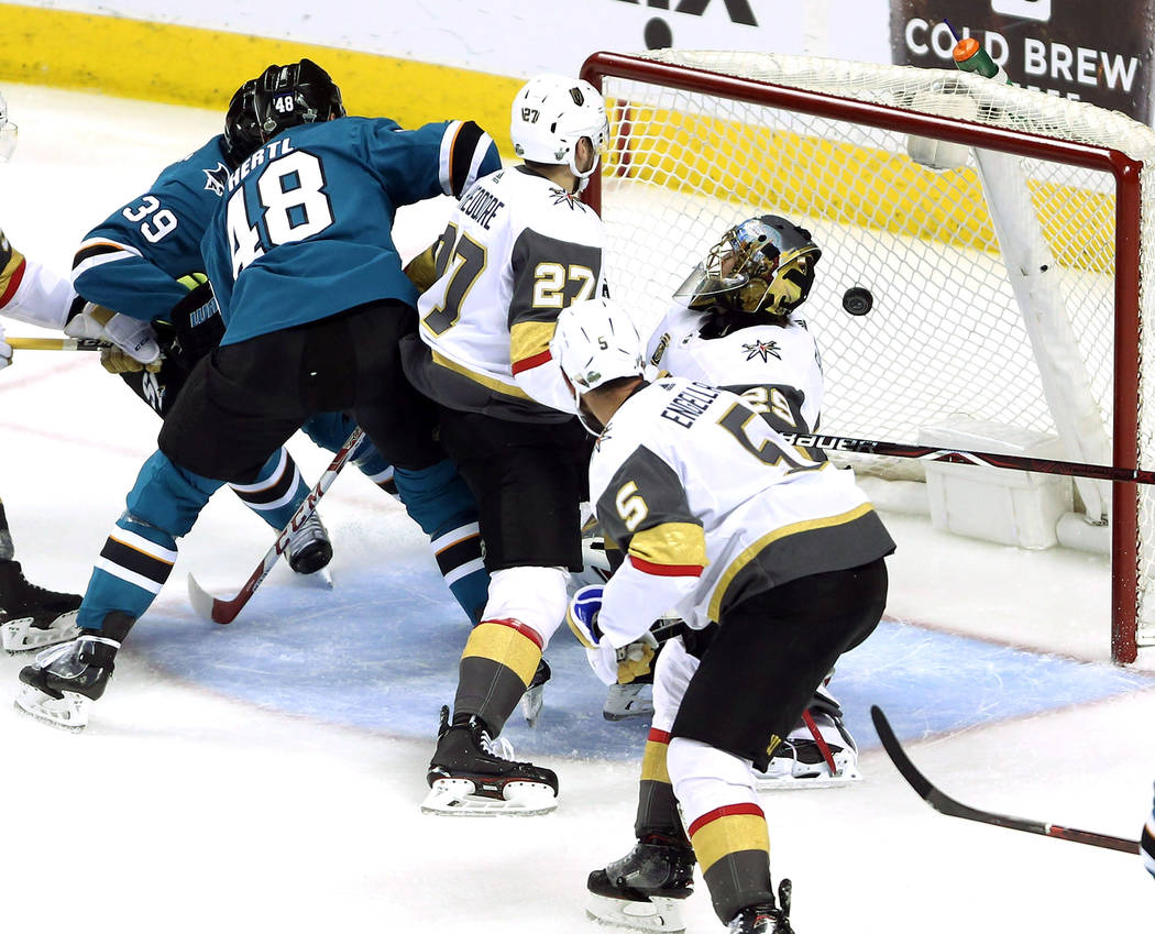 San Jose Sharks center Tomas Hertl (48) makes a shot against Vegas Golden Knights goaltender Marc-Andre Fleury (29) during the second period in Game 4 of an NHL hockey second-round playoff series ...