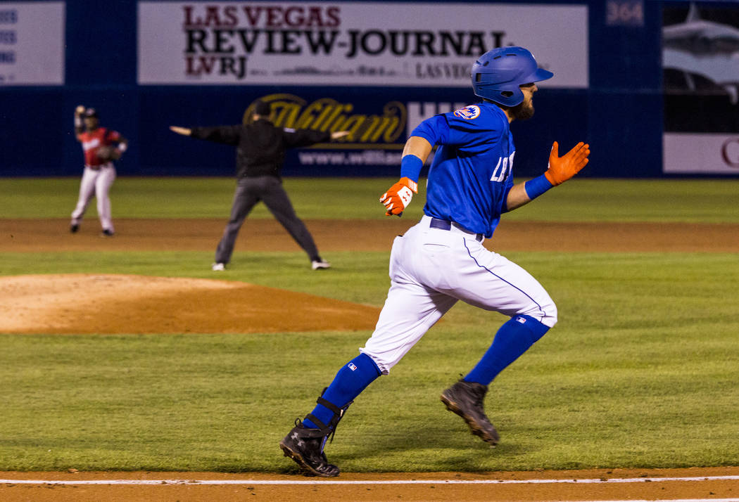 Las Vegas 51s second baseman Gavin Cecchini runs toward first base while playing against the Sacramento River Cats at Cashman Field on Wednesday, May 2, 2018. Patrick Connolly Las Vegas Review-Jo ...