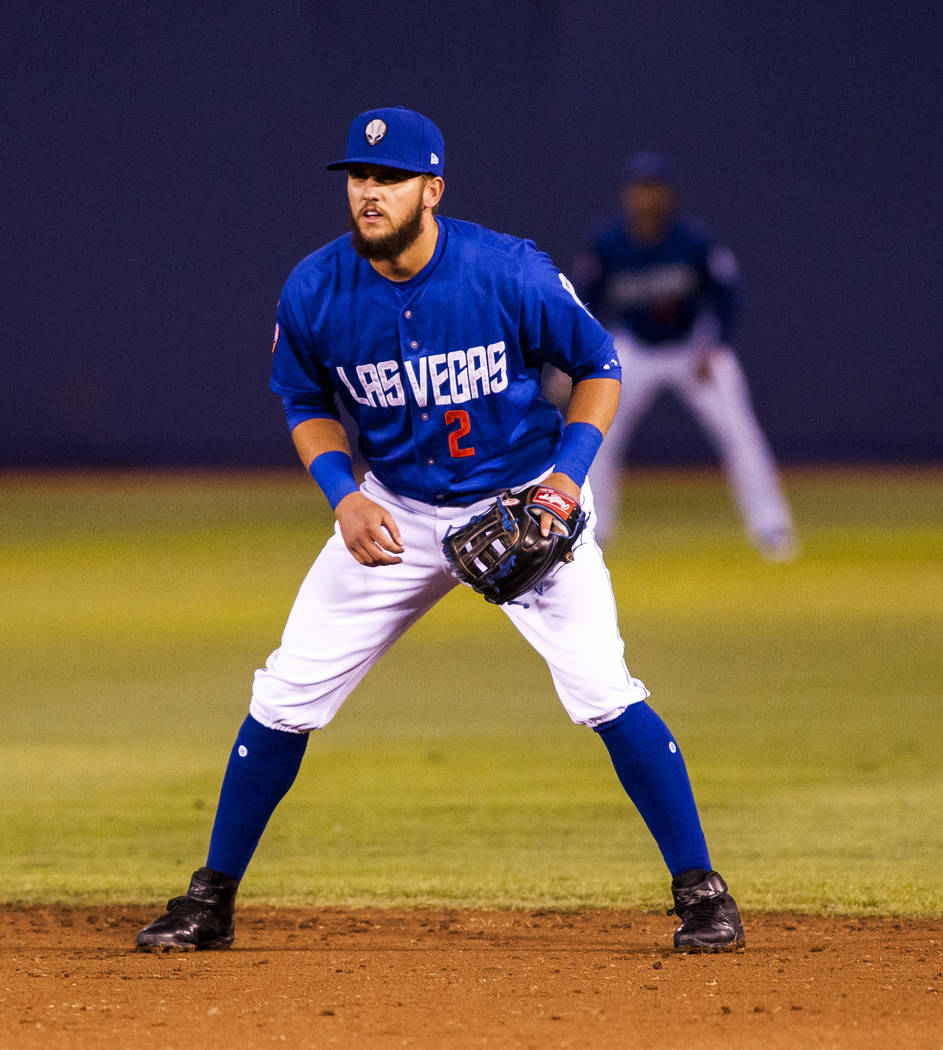 Las Vegas 51s second baseman Gavin Cecchini takes his stance in the field while playing against the Sacramento River Cats at Cashman Field on Wednesday, May 2, 2018. Patrick Connolly Las Vegas Re ...