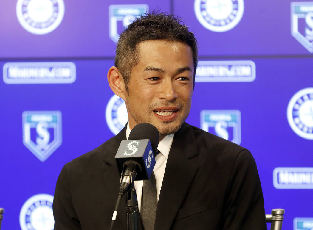 In this March 7, 2018, file photo, Seattle Mariners' Ichiro Suzuki speaks at a news conference at the teams' spring training baseball complex in Peoria, Ariz. (AP Photo/Matt York, File)