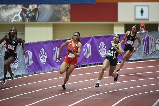 UNLV's Kaysha Love competes in the Mountain West Indoor Championships. Photo courtesy of UNLV Athletics.