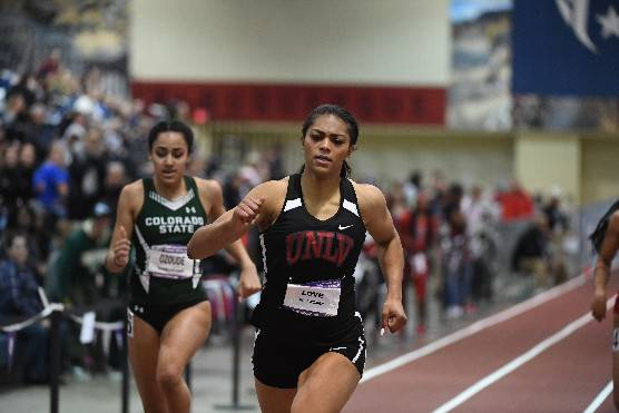 UNLV's Kaysha Love, right, competes in the Mountain West Indoor Championships. Photo courtesy of UNLV Athletics.