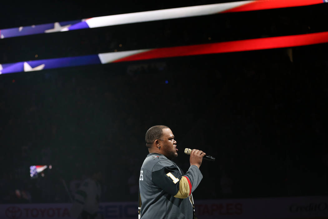 Carnell Johnson, also known as Golden Pipes, signs the national anthem during Game 1 of an NHL hockey second-round playoff series between Vegas Golden Knights and the San Jose Sharks at T-Mobile A ...