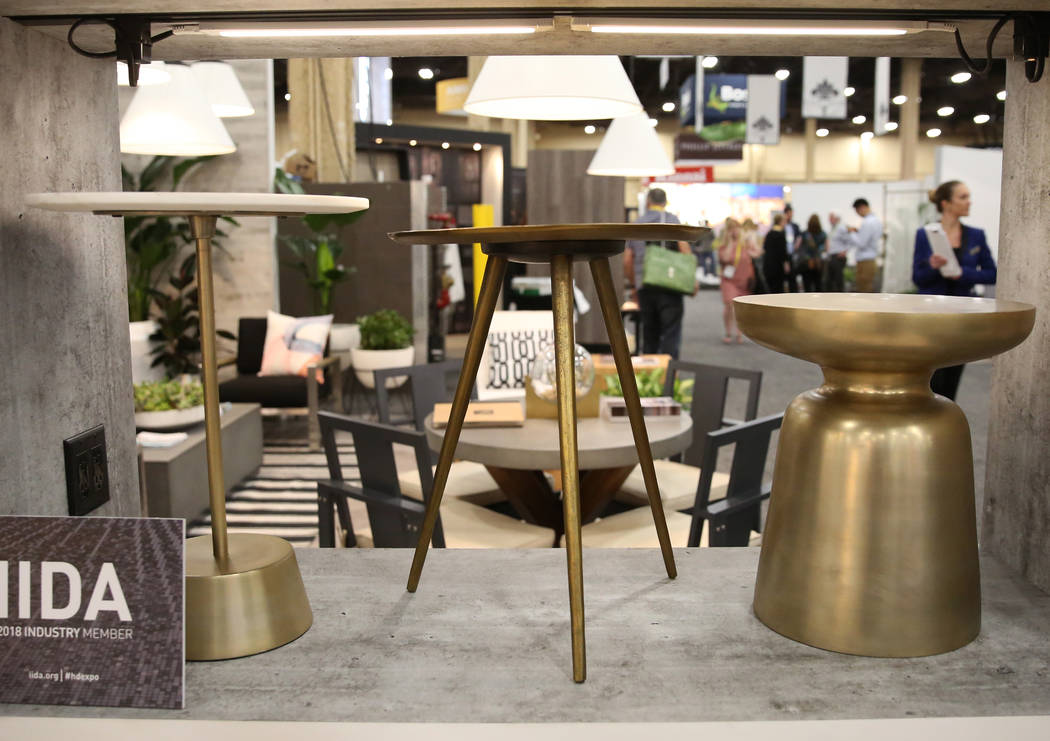 Side tables are displayed at Williams Sonoma's booth during the 2018 Hospitality Design Exposition and Conference on Wednesday, May 2, 2018, in Las Vegas. Bizuayehu Tesfaye/Las Vegas Review-Journ ...