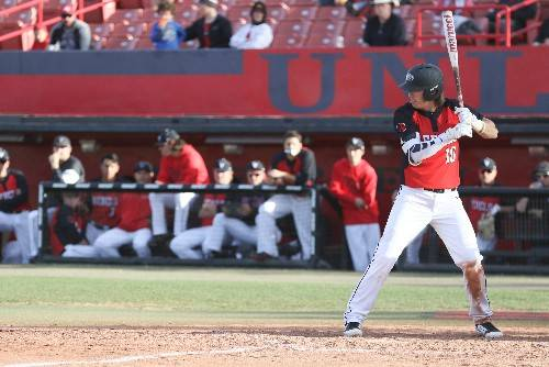UNLV shortstop Bryson Stott bats against Loyola Marymount on Feb. 18 at Wilson Stadium. Photo courtesy of UNLV Athletics.