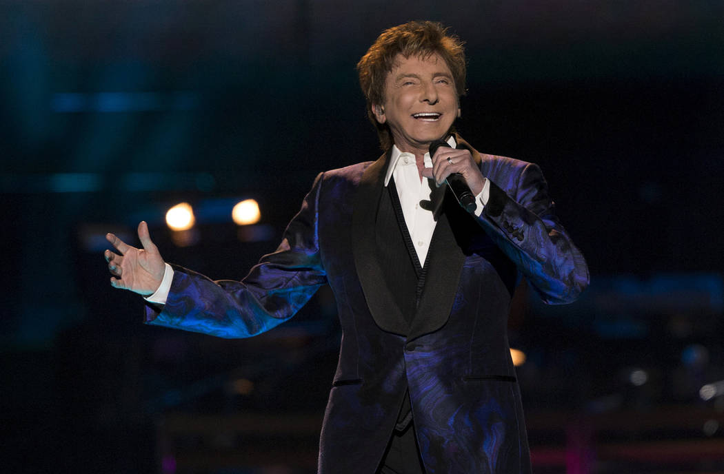"Barry Manilow performs during his ""One Last Time! Tour"" at Staples Center in Los Angeles on April 14, 2015. (Mario Anzuoni/File, Reuters)"