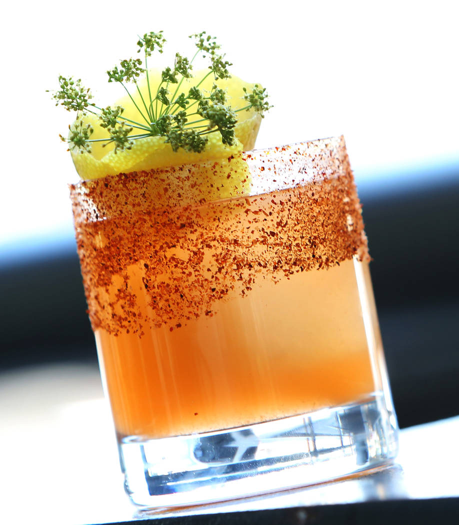 A cocktail called No Tajin in The Machine is displayed at Flock and Fowl restaurant on Monday, May 7, 2018, in Las Vegas. Bizuayehu Tesfaye/Las Vegas Review-Journal @bizutesfaye