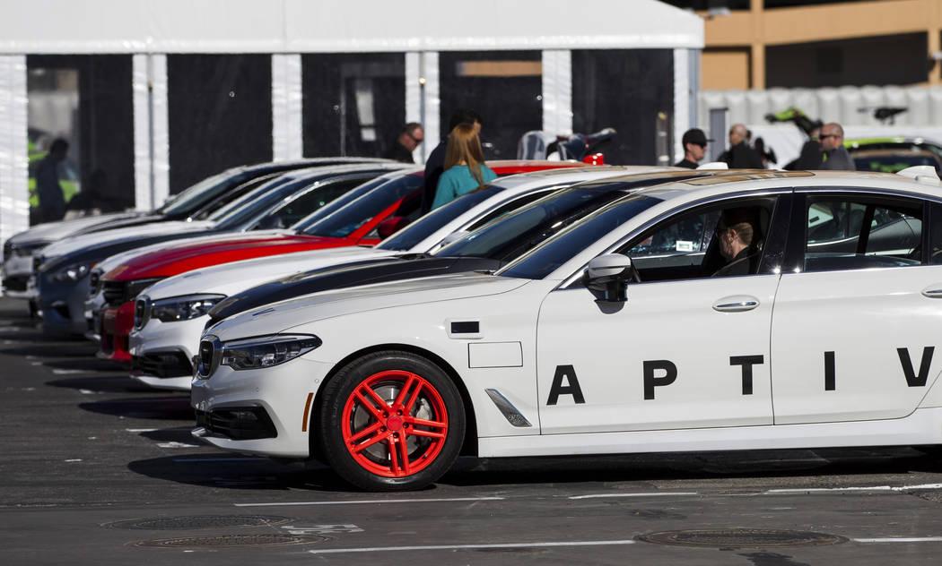 Aptiv and Lyft showcase their autonomous vehicles outside of the Las Vegas Convention Center in advance of CES in Las Vegas, Sunday, Jan. 7, 2018. Erik Verduzco/Las Vegas Review-Journal