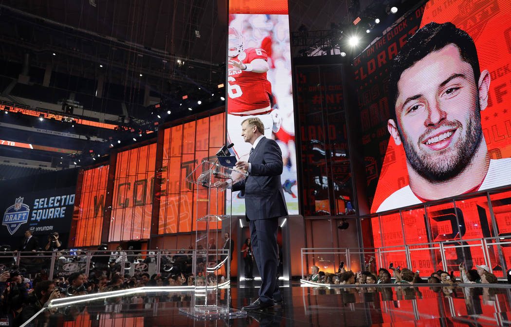Commissioner Roger Goodell speaks at the podium after the Cleveland Browns selected Oklahoma's Baker Mayfield as their pick during the first round of the NFL football draft, Thursday, April 26, 20 ...