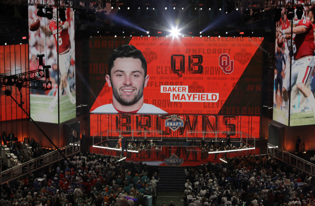The Cleveland Browns select Oklahoma's Baker Mayfield during the first round of the NFL football draft, Thursday, April 26, 2018, in Arlington, Texas. (AP Photo/Eric Gay)