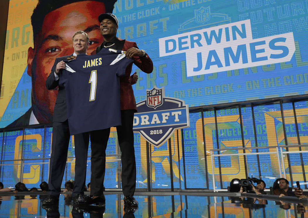 Commissioner Roger Goodell, left, presents Florida State's Derwin James with his Los Angeles Chargers team jersey during the first round of the NFL football draft, Thursday, April 26, 2018, in Arl ...