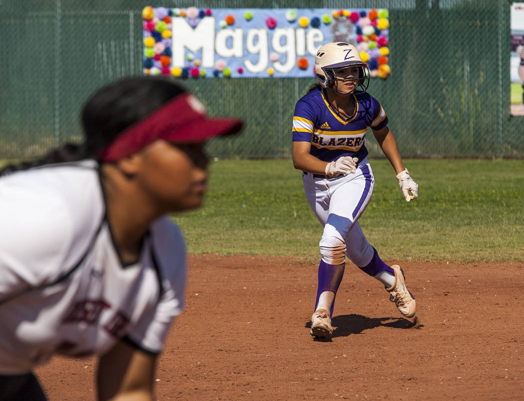 Durango infielder Destiny Cisneros leads off second base while playing against Desert Oasis in the second inning at Desert Oasis High School in Las Vegas on Thursday, May 3, 2018. Durango won 12-6 ...