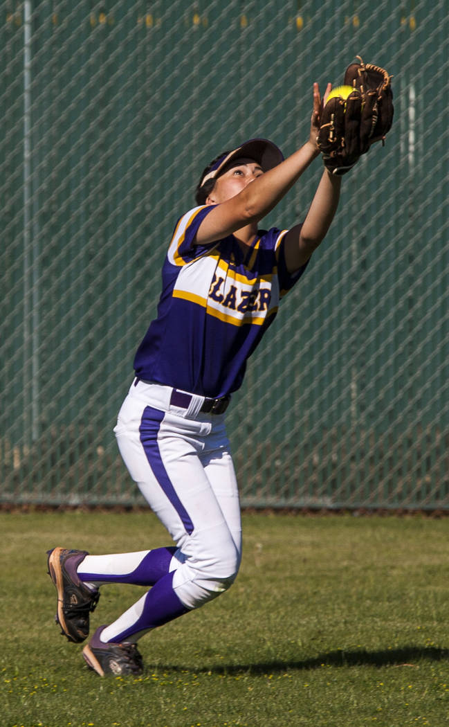 Durango outfielder Madisyn Conriquez catches a pop fly while playing against Desert Oasis during the third inning at Desert Oasis High School in Las Vegas on Thursday, May 3, 2018. Durango won 12- ...