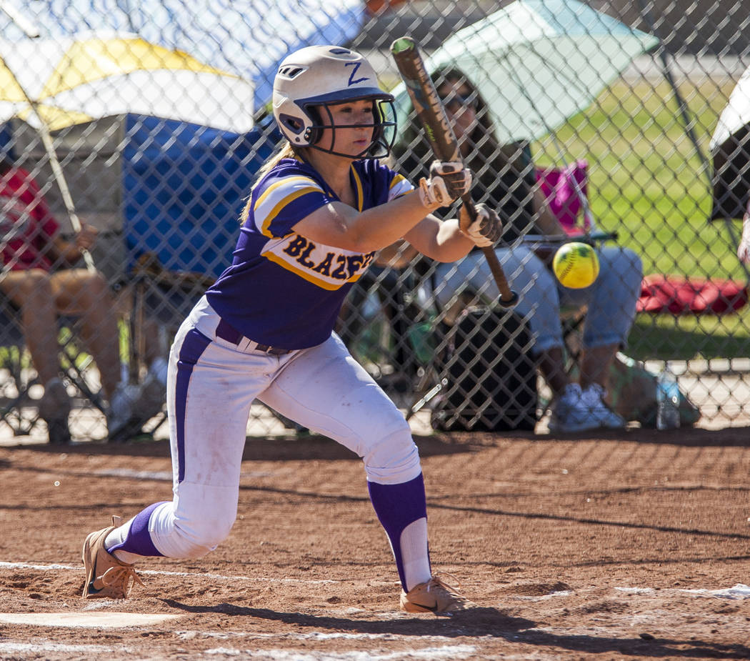 Durango infielder Isabel Perez bunts while playing against Desert Oasis in the fourth inning at Desert Oasis High School in Las Vegas on Thursday, May 3, 2018. Durango won 12-6. Patrick Connolly ...