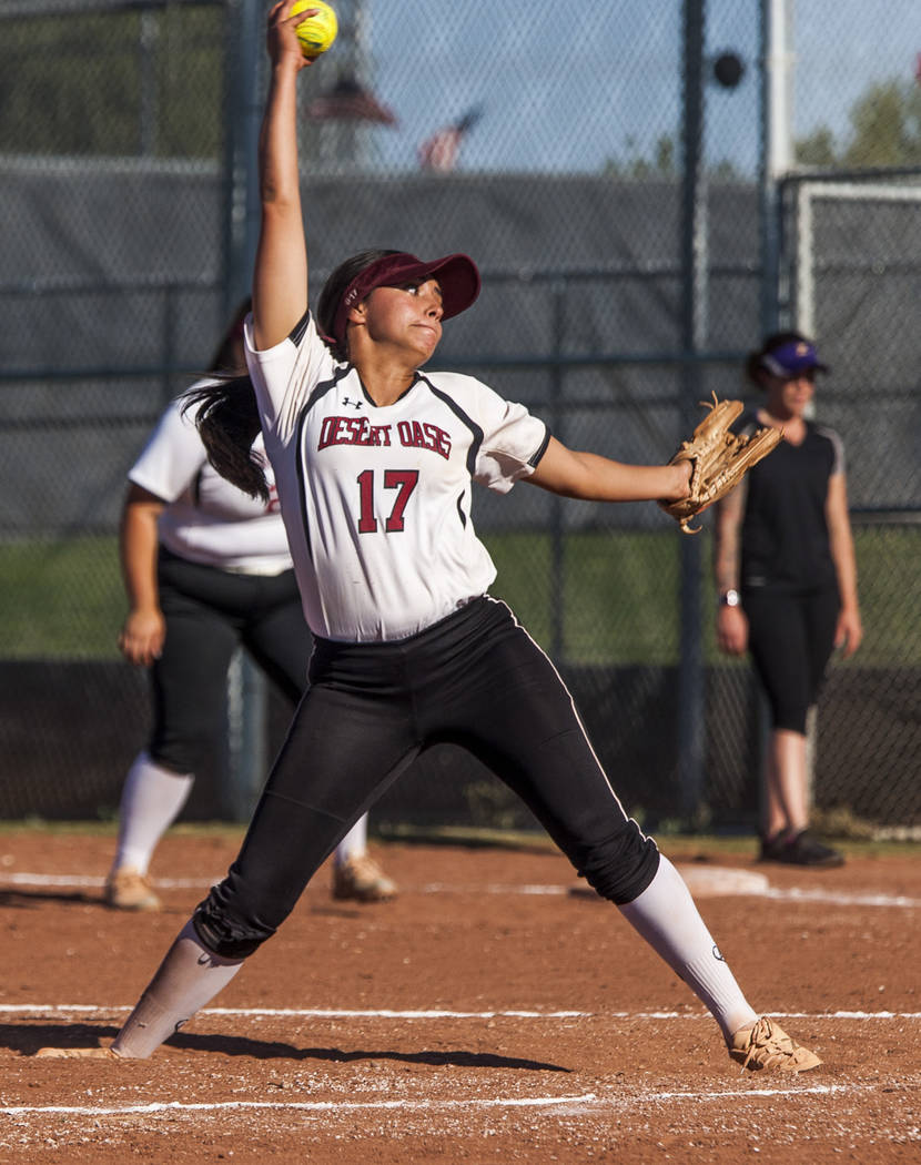 Desert Oasis pitcher Paisley Garcia pitches against Desert Oasis in the fifth inning at Desert Oasis High School in Las Vegas on Thursday, May 3, 2018. Durango won 12-6. Patrick Connolly Las Vega ...